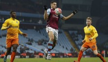 Aston Villa's French-born Beninese striker Rudy Gestede (C) controls the ball during the English FA Cup third round replay football match between Aston Villa and Wycombe Wanderers at Villa Park in Birmingham, central England on January 19, 2016. Aston Villa won the game 2-0. AFP PHOTO / ADRIAN DENNIS  RESTRICTED TO EDITORIAL USE. No use with unauthorized audio, video, data, fixture lists, club/league logos or 'live' services. Online in-match use limited to 75 images, no video emulation. No use in betting, games or single club/league/player publications. / AFP / ADRIAN DENNIS        (Photo credit should read ADRIAN DENNIS/AFP/Getty Images)