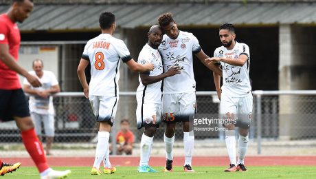 Souleymane Camara, Steve Mounie and Ryad Boudebouz of Montpellier during the Pre season friendly match between Montpellier Herault Sc and Clermont Foot on July 22, 2016 in Millau, France. (Photo by Alexandre Dimou/Icon Sport)