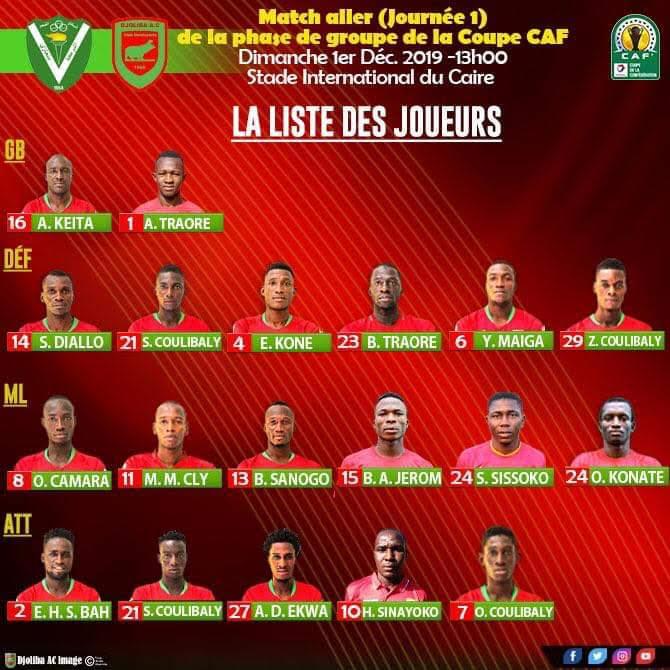 Coupe de la Caf – J1: le groupe de l'AC  Djoliba avec Jérôme Agossa
